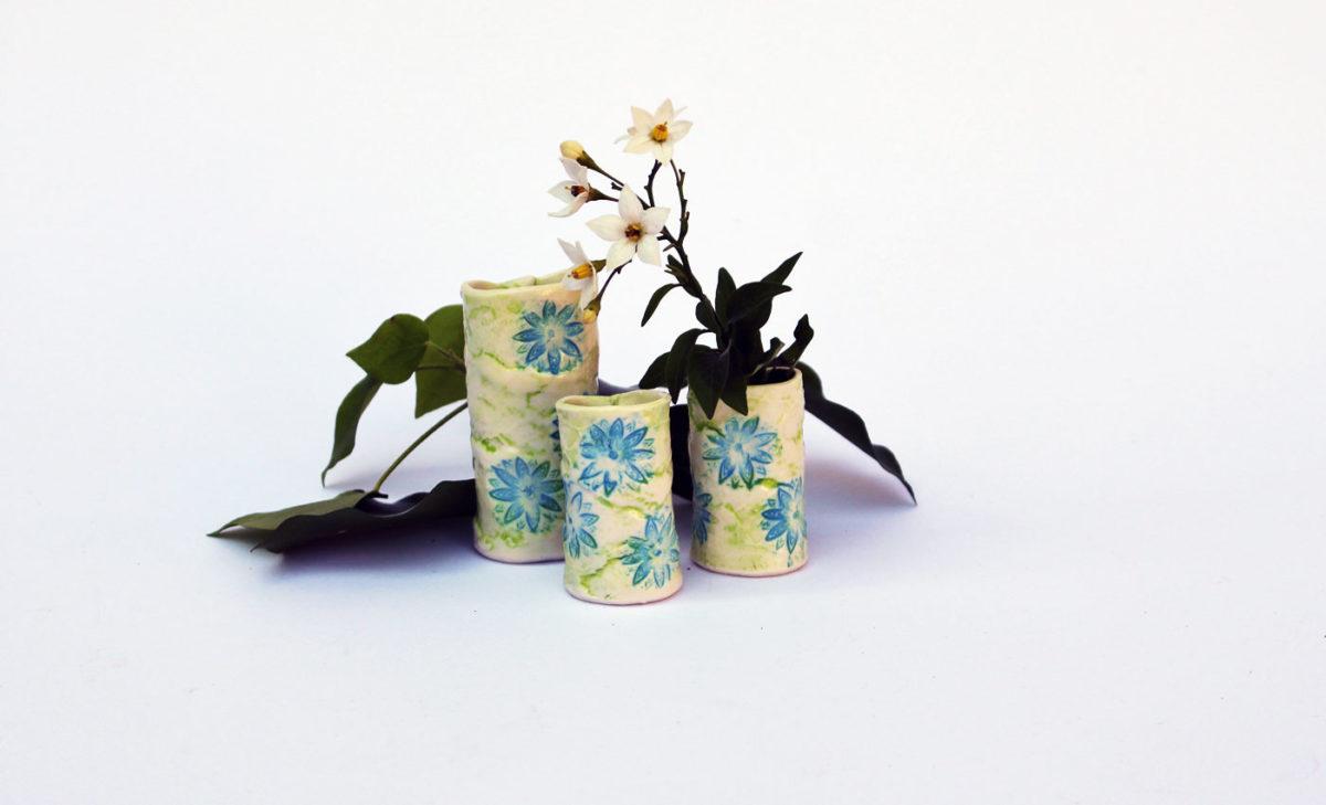 Miniaturvasen-Porzellan-Bluetenmotive
