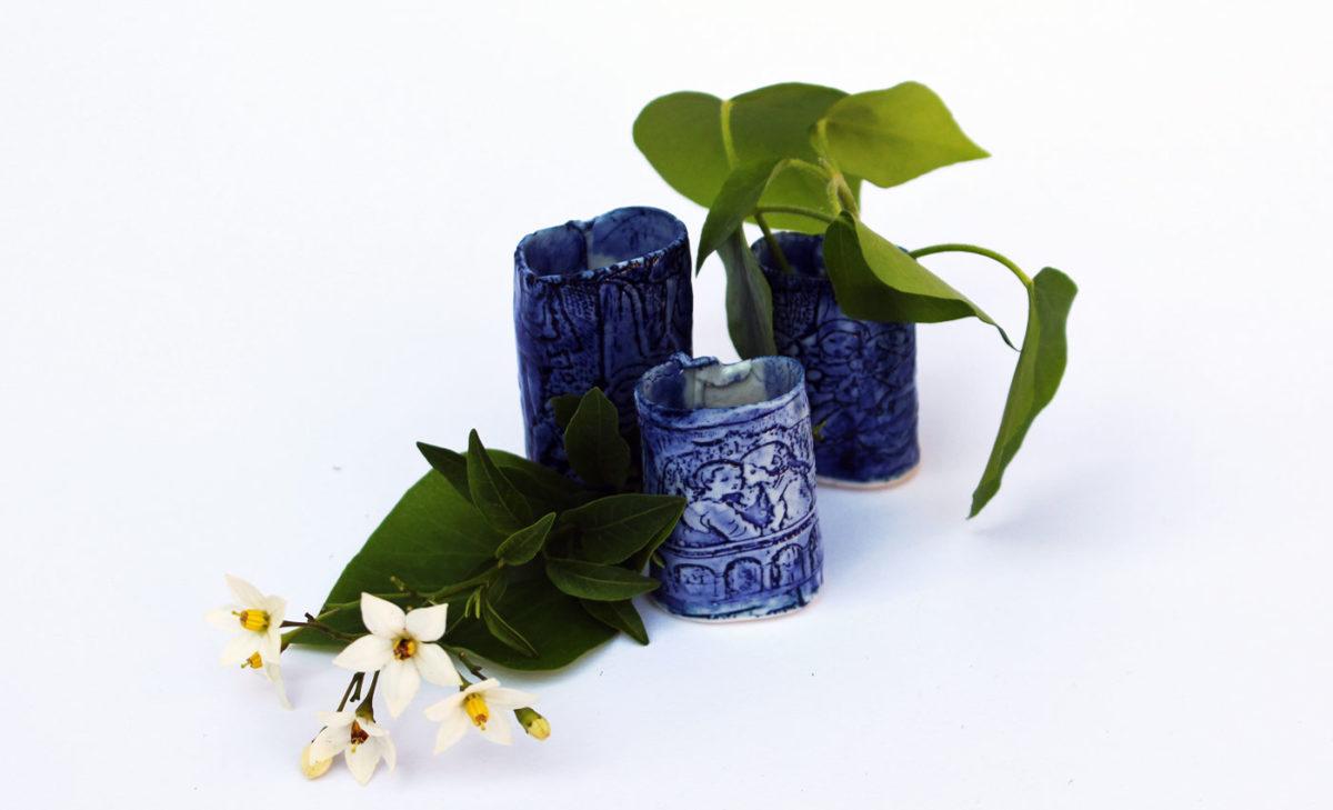 Miniaturvasen-Porzellan-blau