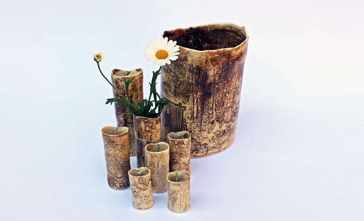 Vasen-Porzellan-Mittelalterszenen